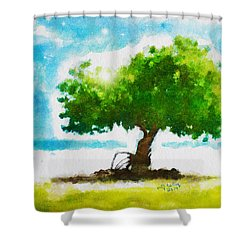 Shower Curtain featuring the painting Summer Magic by Greg Collins