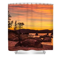 Shower Curtain featuring the photograph Tahoe Golden Sunset by Steven Bateson