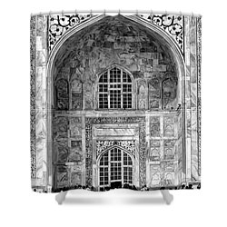 Taj Mahal Close Up In Black And White Shower Curtain by Amanda Stadther