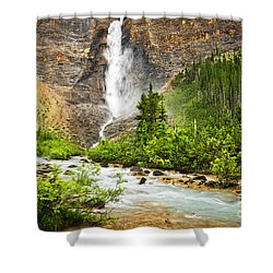 Takakkaw Falls Waterfall In Yoho National Park Canada Shower Curtain by Elena Elisseeva