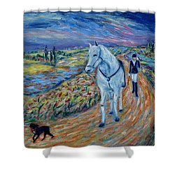 Shower Curtain featuring the painting Take Me Home My Friend by Xueling Zou