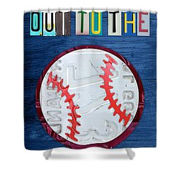 Take Me Out To The Ballgame License Plate Art Lettering Vintage Recycled Sign Shower Curtain by Design Turnpike