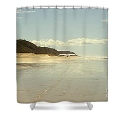 Take Off Shower Curtain by Linda Lees
