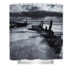 Taken By The Sea Shower Curtain by Mike  Dawson