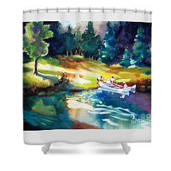 Taking A Break 2 Shower Curtain by Kathy Braud