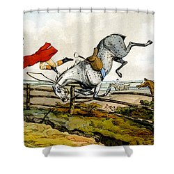Taking A Tumble From Qualified Horses And Unqualified Riders Shower Curtain by Henry Thomas Alken