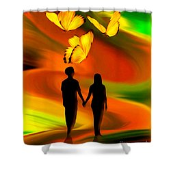 Shower Curtain featuring the digital art Taking The Butterflies Road - Fantasy Painting By Giada Rossi by Giada Rossi