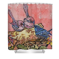 Talk It Over Shower Curtain by Connie Valasco