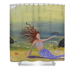 Talking To The Fishes Shower Curtain by Pamela  Meredith
