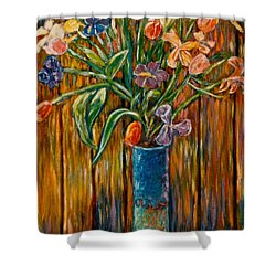 Tall Blue Vase Shower Curtain by Kendall Kessler