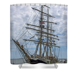 Shower Curtain featuring the photograph Tall Ship Gunilla Vertical by Dale Powell
