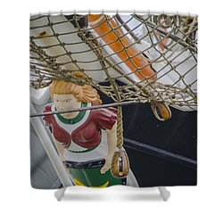 Shower Curtain featuring the photograph Tall Ship Gunilla Masthead by Dale Powell