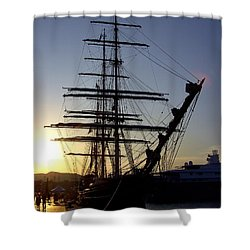 Tall Ship In Ibiza Town Shower Curtain