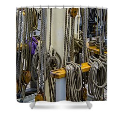 Tall Ship Lines And Blocks Shower Curtain by Dale Powell