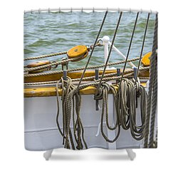 Shower Curtain featuring the photograph Tall Ship Rigging by Dale Powell