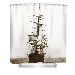 Shower Curtain featuring the photograph Tall Ship Sailing Out Of San Francisco California Circa 1900 by California Views Mr Pat Hathaway Archives