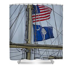Shower Curtain featuring the photograph Tall Ships Flags by Dale Powell