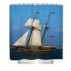 Shower Curtain featuring the digital art Tall Ships Over Charleston by Dale Powell