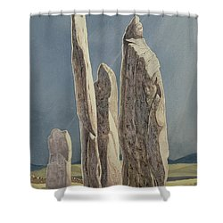Tall Stones Of Callanish Isle Of Lewis Shower Curtain by Evangeline Dickson