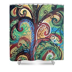Tall Tree Winding Shower Curtain by Genevieve Esson