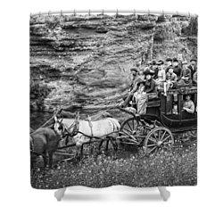 Tallyho Stagecoach Party C. 1889 Shower Curtain by Daniel Hagerman
