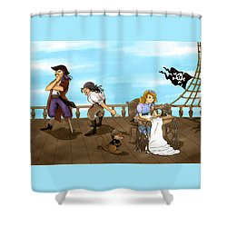 Shower Curtain featuring the painting Tammy And The Pirates by Reynold Jay