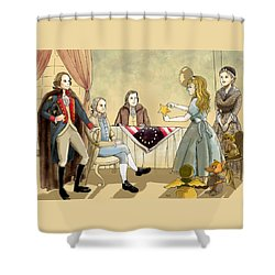 Shower Curtain featuring the painting Tammy Meets Betsy Ross And George Washington by Reynold Jay