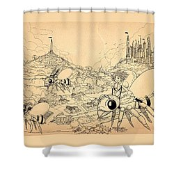 Shower Curtain featuring the drawing Flight Over Capira by Reynold Jay