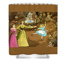 Shower Curtain featuring the painting Tammy In The Town Square by Reynold Jay