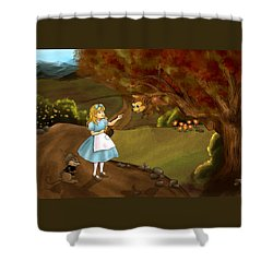 Shower Curtain featuring the painting Tammy Meets Zeke The Opossum by Reynold Jay