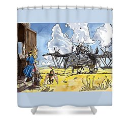 Shower Curtain featuring the painting Tammy Sees A Thingamajig by Reynold Jay