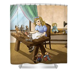 Shower Curtain featuring the painting Tammy The Little Doll Girl  by Reynold Jay