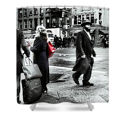 Tangents - A Walk In The City Shower Curtain by Miriam Danar