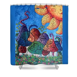Tangled Mushrooms Shower Curtain by Megan Walsh