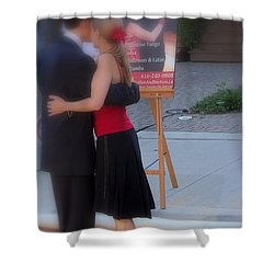 Tango Dancing On The Street Shower Curtain by Lingfai Leung