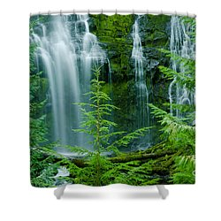 Pacific Northwest Waterfall Shower Curtain by Nick  Boren