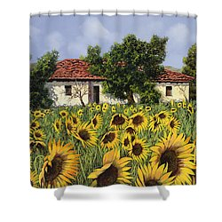 Tanti Girasoli Davanti Shower Curtain by Guido Borelli