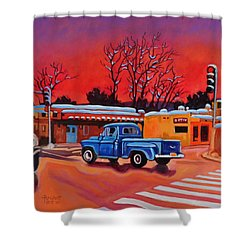 Shower Curtain featuring the painting Taos Blue Truck At Dusk by Art West