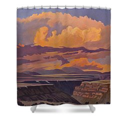 Shower Curtain featuring the painting Taos Gorge - Pastel Sky by Art James West