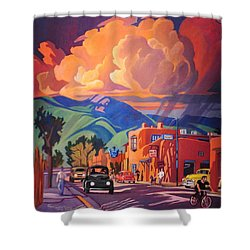 Shower Curtain featuring the painting Taos Inn Monsoon by Art James West