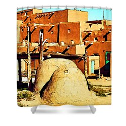 Taos Pueblo II Shower Curtain by Dan Dooley