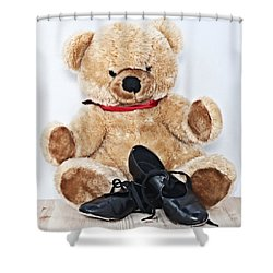 Tap Dance Shoes And Teddy Bear Dance Academy Mascot Shower Curtain