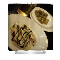 Tapas In Seville Shower Curtain by Mary Machare