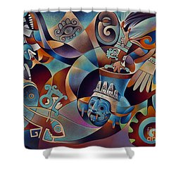 Tapestry Of Gods - Tlaloc Shower Curtain by Ricardo Chavez-Mendez