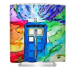 Tardis Illustration Edition Shower Curtain by Justin Moore