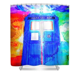 Tardis Shower Curtain by Justin Moore