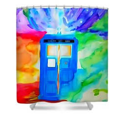 Tardis Watercolor Edition Shower Curtain by Justin Moore