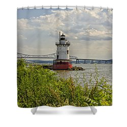 Tarrytown Lighthouse And The Tappan Zee Bridge Shower Curtain by Marianne Campolongo