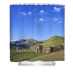 Tash Rabat Caravanserai In The Tash Rabat Valley Of Kyrgyzstan  Shower Curtain by Robert Preston
