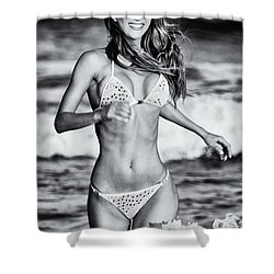 Shower Curtain featuring the photograph Ms Turkey Tatyana Running In The Ocean Waves - Glamor Girl Photo Art by Amyn Nasser